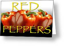 Red Peppers On White And Black Greeting Card