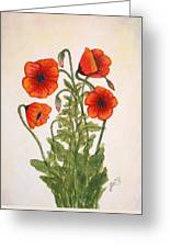 Red Poppies Watercolor Painting Greeting Card