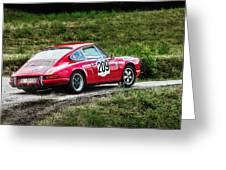 Red Porsche Running Away Greeting Card