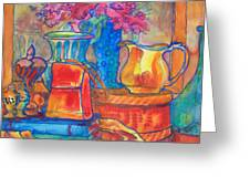 Red Purse And Blue Line Greeting Card by Blenda Studio