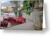 Red Rail Walkway To Varenna Along Lake Como Greeting Card