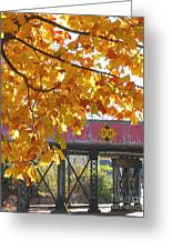 Red Railroad Trestle Greeting Card