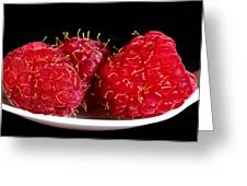 Red Raspberries On A White Spoon Against Black No.0102 Greeting Card