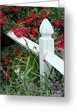 Red Rhododendron And White Post Greeting Card