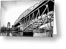 Red River Bridge Black And White Greeting Card