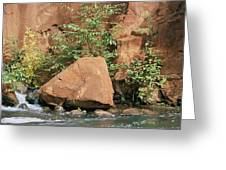 Red Rocks, Fall Colors And Creek, Oak Greeting Card