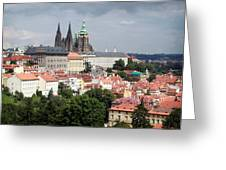 Red Rooftops Of Prague Greeting Card by Linda Woods