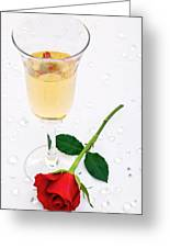 Red Rose And A Glass Of Champagne Greeting Card