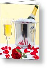 Red Rose And Champagne Greeting Card