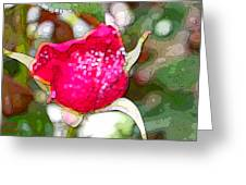 Red Rose Bud Greeting Card