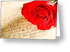Red Rose Over A Hand Written Letter Greeting Card
