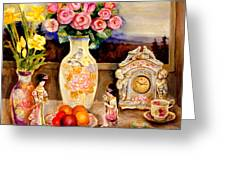 Red Roses Yellow Daffodils In Hand Painted Oriental Antique Vases With Fruit Plate Doves And Angels Greeting Card