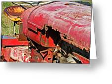 Red Rusty Beach Tractor Greeting Card