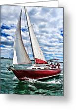 Red Sailboat Green Sea Blue Sky Greeting Card