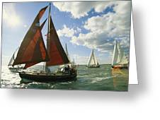 Red-sailed Sailboat And Others Greeting Card