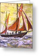 Red Sailing Boat  Greeting Card
