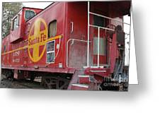 Red Sante Fe Caboose Train . 7d10334 Greeting Card by Wingsdomain Art and Photography