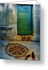 Red Shoes By Green Door Greeting Card