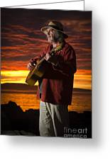 Red Sky Guitarist Greeting Card by David Lade