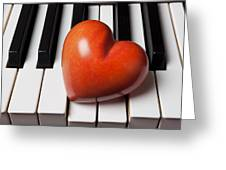 Red Stone Heart On Piano Keys Greeting Card