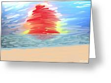 Red Sun Setting Greeting Card by Heidi Smith