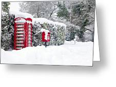 Red Telephone And Post Box In The Snow Greeting Card