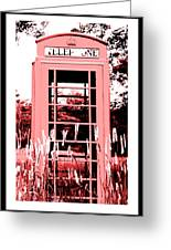 Red Telephone Booth In A Field In Maine Greeting Card