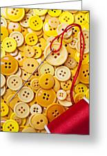 Red Thread And Yellow Buttons Greeting Card