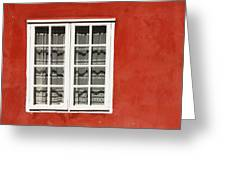 Red Timber House And Window Frame In Greeting Card