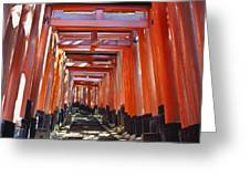 Red Torii Arches Over Steps At Inari Greeting Card
