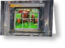 Red Tractor Thru Old Window Greeting Card