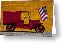 Red Truck Against Yellow Wall Greeting Card