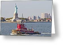 Red Tug Three And Liberty Greeting Card