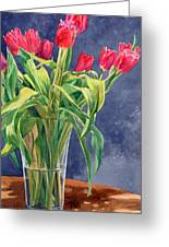 Red Tulips Greeting Card by Peter Sit