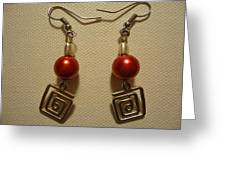 Red Twisted Square Earrings Greeting Card by Jenna Green