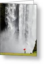 Red Umbrella At Skogafoss Greeting Card