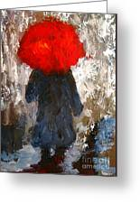 Red Umbrella Under The Rain Greeting Card