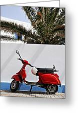 Red Vespa By Wall Greeting Card