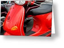 Red Vespa Vintage Scooter Motorcycle Greeting Card