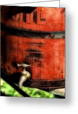 Red Weathered Wooden Bucket Greeting Card