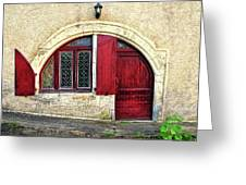 Red Windows And Door Provence France Greeting Card