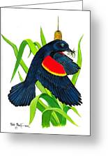 Red Wing Blackbird Dinner Greeting Card