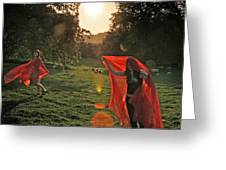 Red Witches Dance Greeting Card