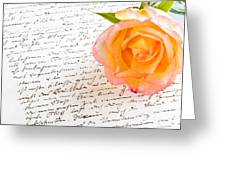 Red Yellow Rose Over A Hand Written Love Letter Greeting Card
