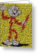 Reddy Kilowatt Bottle Cap Mosaic Greeting Card