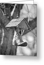 Redneck Cowboy Boot Birdhouse Bw Greeting Card