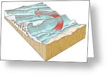 Reef Break Wave Formation, Artwork Greeting Card