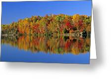 Reflected Autumn Trees In Simon Lake Greeting Card