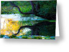 Reflected Tree In Pastel Landscape Greeting Card