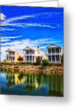 Reflecting On New Town 3 Greeting Card by Bill Tiepelman